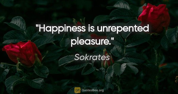 "Sokrates Zitat: ""Happiness is unrepented pleasure."""